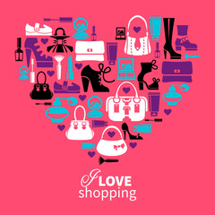 Shopping love - heart with set of vector fashion womens icons