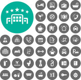 Fototapety Hotel icons set. Illustration eps10