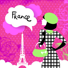 Stylish retro background with shopping woman silhouette