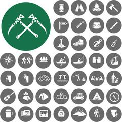 Hiking icons set. Illustration eps10