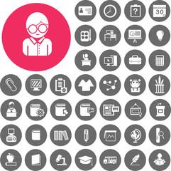 Teacher School and Education Icons set. Illustration eps10