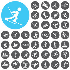 Set of winter sport icons. Illustration eps10