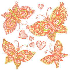 Set of ornate pink butterflies and hearts.
