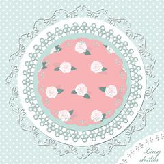 Doily template set on polka dot seamless pattern background.