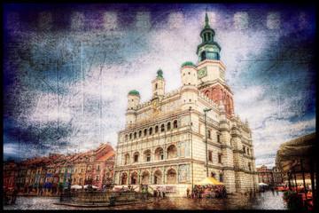 Ratusz na starym rynku w Poznaniu styl retro