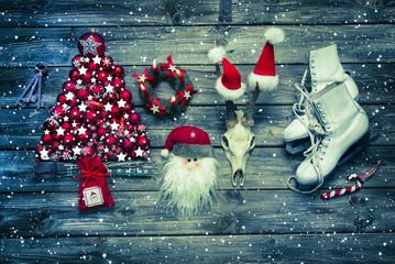 Weihnachtskarte; Dekoration Weihnachten in Rot und Weiß