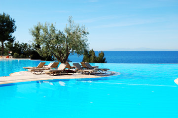 Infinity swimming pool with olive tree in the middle at the mode