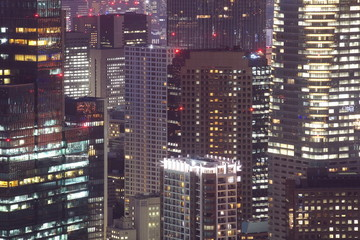 Close - up Hi building in Tokyo city at night