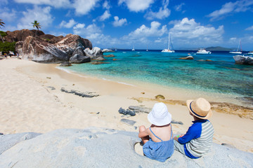 Tho kids enjoying tropical scenery