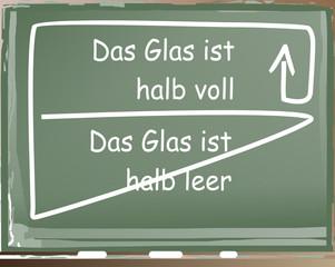 Glas halb voll – halb leer