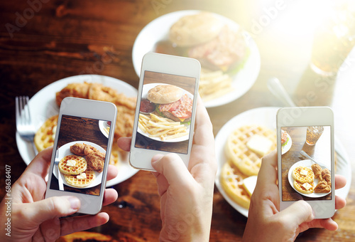 friends using smartphones to take photos of food - 68636407