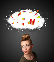 Young woman gesturing with cloud and charts concept