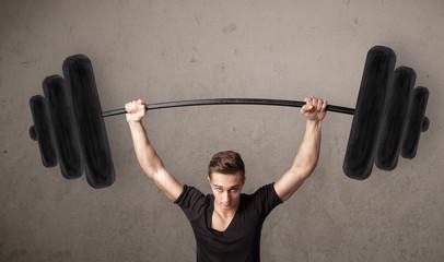 muscular man lifting weights © ra2 studio
