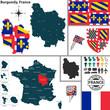 Постер, плакат: Map of Burgundy France