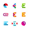 Set of letter E logos design template, elements, icons.