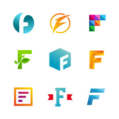 Set of letter F logos design template, elements, icons.