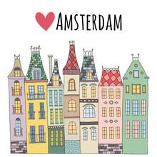 Leuke hand getrokken vector huizen in Amsterdam