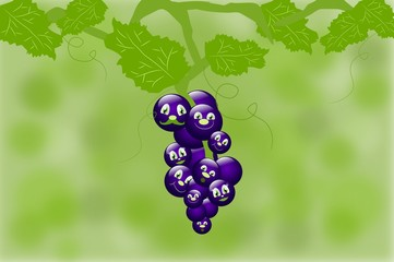 Tuft of grapes with faces