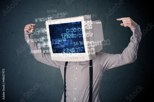 canvas print picture Human cyber monitor pc calculating computer data concept