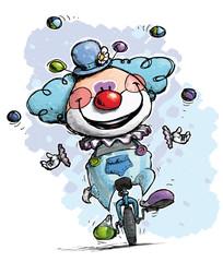 Clown on Unicyle Juggling Boy Colors