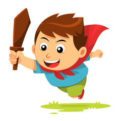 Boy In Action. A jumping boy with cape and wood sword.