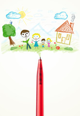 Pen close-up with a drawing of a family