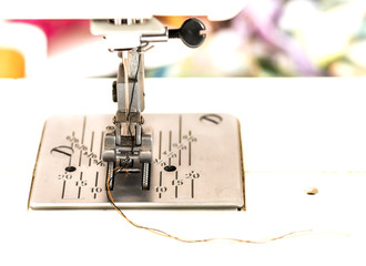 Part of the sewing machine close-up