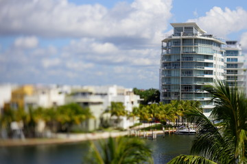 Miami Beach architecture tilt shift stock image