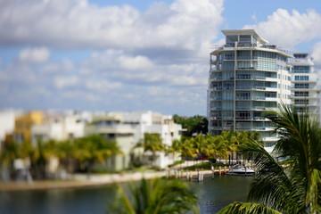 Miami Beach architecture tilt shift stock image