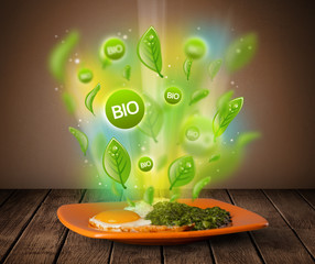 Healthy bio green plate of food