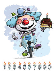 Clown on Unicyle Carrying a Boy's Birthday Cake