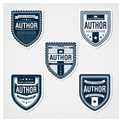 Awesome Badges Template 01. 5 ready used badge designs.
