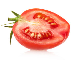 Red tomato slice isolated on white background