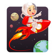 Astronaut kid riding red rocket to the space. - 68638666