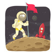 Astronaut landing on the moon and give a flag sign. - 68638670