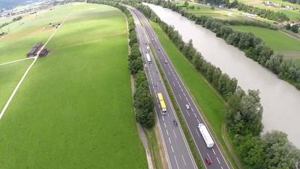Traffic on the Freeway - Aerial Flight