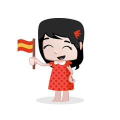 Cute little girl waving a Flag