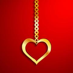 Gold heart pendulum isolate