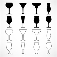 Vector glass wine isolated on white