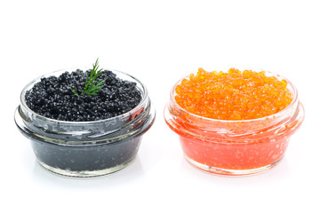 red and black caviar in glass jars isolated on white background