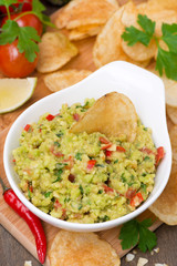 snack - Mexican sauce guacamole, top view