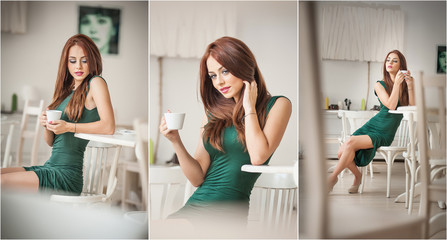 Fashionable attractive young woman in green dress sitting