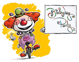 Clown on Unicycle Holding a Birthday Party Card