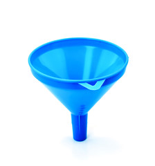 Blue plastic funnel isolated on a white background