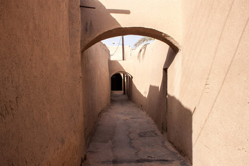 Typical narrow alley in Yazd, Iran