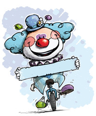 Clown on Unicyle Holding a Label - Boy Colors