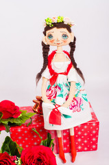 Textile souvenir doll in national costume