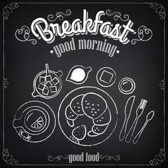 Vintage Poster. Breakfast. Croissant and tea