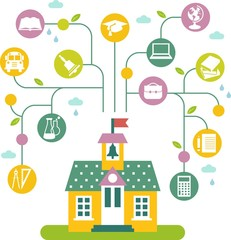 Concept of education with school building and icons