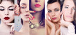 Faces of women. Fashion photo. Beauty collage.